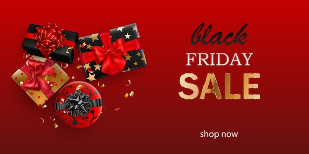 Black friday sale banner. gift box with bow and ribbons on red background