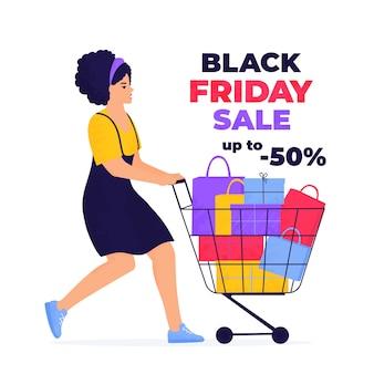 검은 금요일 판매 배너. 소녀는 구매와 선물로 가득 찬 트롤리로 쇼핑하고 있습니다.