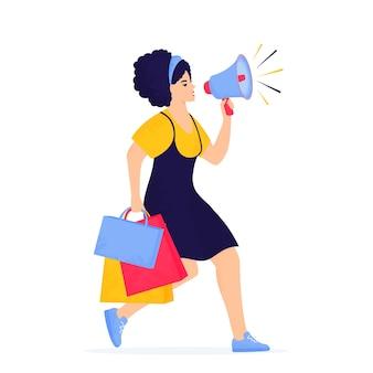 Черная пятница продажа баннер. девушка с громкоговорителем и сумками с покупками бежит за покупками