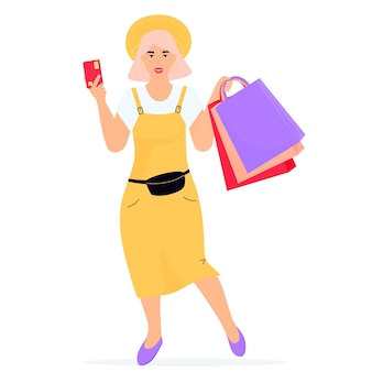 Черная пятница продажа баннер. девушка с хозяйственными сумками и кредитной картой