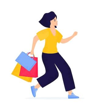 Черная пятница продажа баннер. девушка с хозяйственными сумками бежит за покупками.