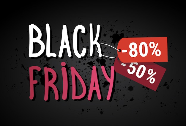 Black friday sale banner over grunge background shopping discount poster concept