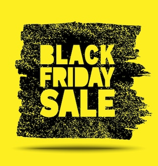 Black friday sale banner hand drawn yellow grunge stain on black background black friday ad