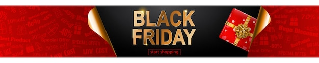 블랙 프라이데이 판매 배너는 빨간색 검정색과 황금색입니다. 어두운 배경에 비문 및 선물 상자
