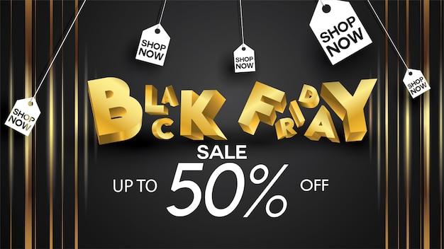 Black friday sale banner layout design background black and gold 50% discount offer badge