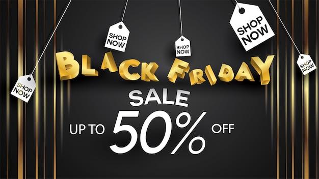 Black friday sale banner layout design background black and gold 50% discount offer flyer