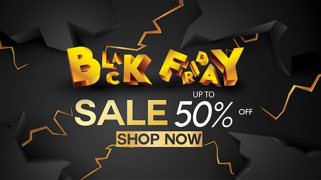 Black friday sale banner layout design background black and gold 50% discount offer
