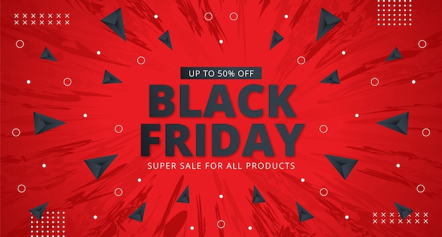 Black friday sale banner layout design in red background.