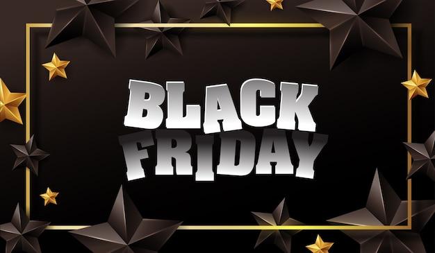 Черная пятница продажа баннер шаблон дизайна макета с черными и золотыми звездами.