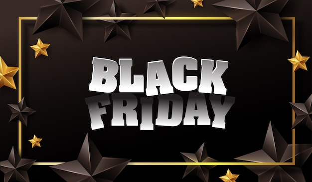 Black friday sale banner layout design template with black and gold stars.