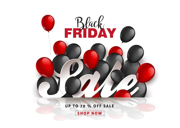 Black friday sale banner layout design template with black and red balloons.