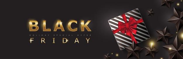 Черная пятница продажа баннер шаблон дизайна макета с черными звездами и подарочной коробке.