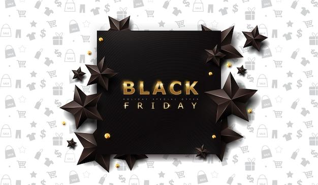黒い星と黒い金曜日販売バナーレイアウトデザインテンプレート。