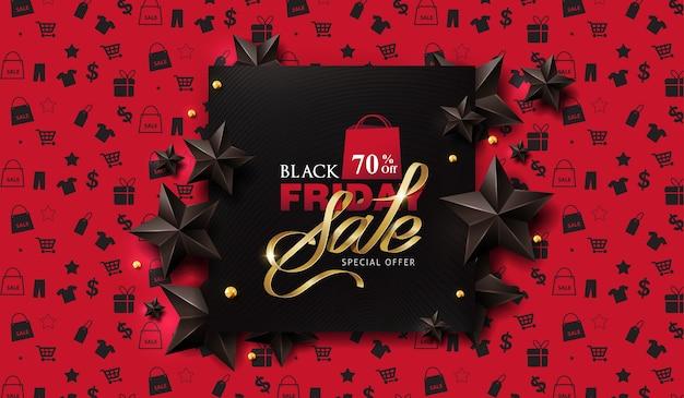 Черная пятница продажа баннер шаблон дизайна макета с черными звездами.