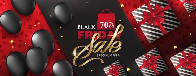 Черная пятница продажа баннер макет шаблона с подарочной коробке и воздушные шары.