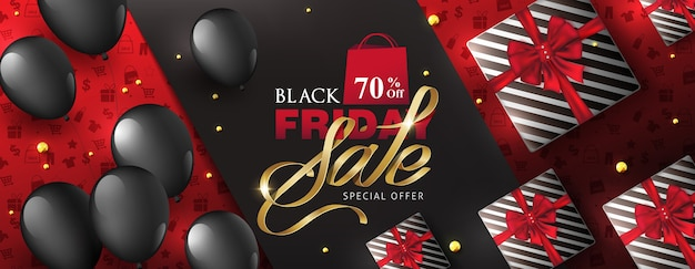 Black friday sale banner layout design template with gift box and balloons.