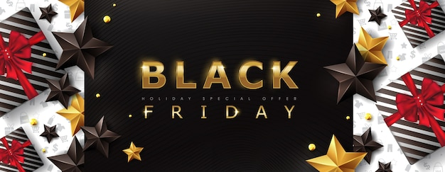 Black friday sale banner layout design template with stars and gift box.