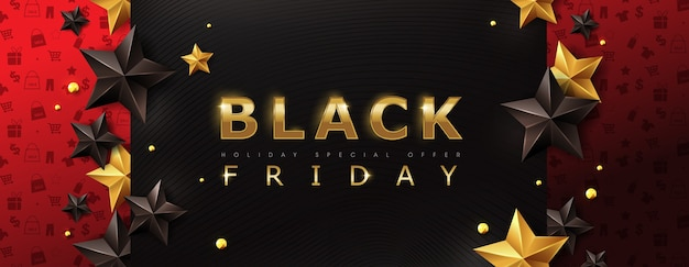 Black friday sale banner layout design template with stars.