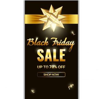 Black friday sale banner. luxury gold background golden bow