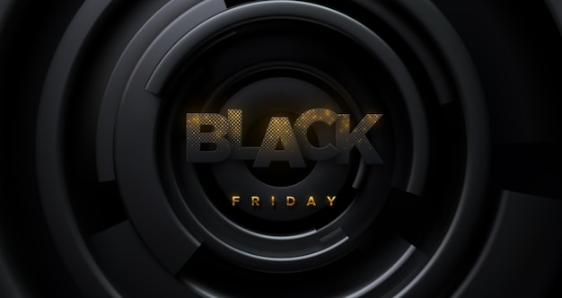 Black friday sale banner of paper letters with golden glitters and concentric shapes background