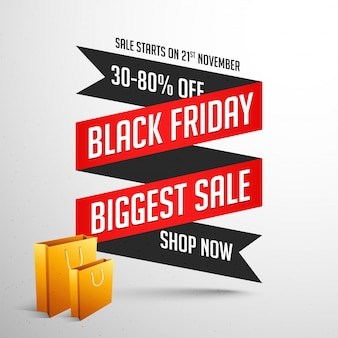 Black friday sale banner or poster design with shopping bags.