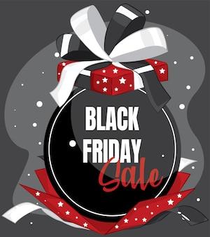 Black friday sale. banner, poster, logo golden color on dark background. with gift box.