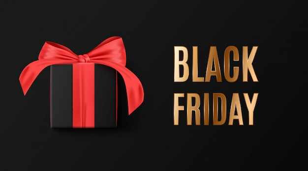 검은 금요일 판매. 배너, 포스터, 어둠에 황금 로고 색상