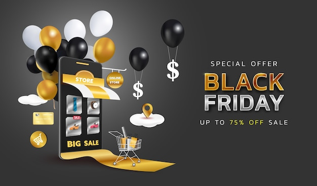 Black friday sale banner or promotion on dark background. online shopping store with mobile , credit cards and shop elements.