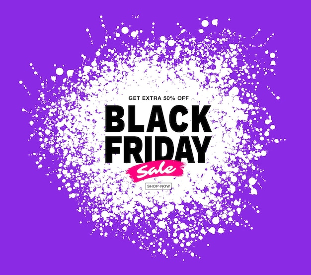 Black friday sale banner purple color splash white circle blots frame for sales and discounts
