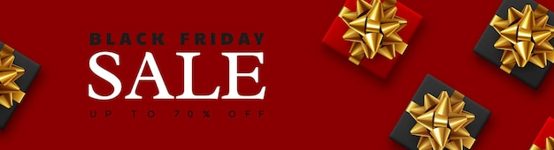 Black friday sale banner. realistic gift box with gold bow. red background. vector illustration.
