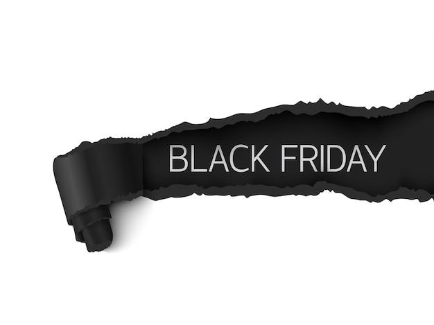 ブラックフライデーセールバナーリアルな破れた紙のデザイン、白い背景で隔離の黒の詳細な紙の巻物ベクトルリアルなイラスト