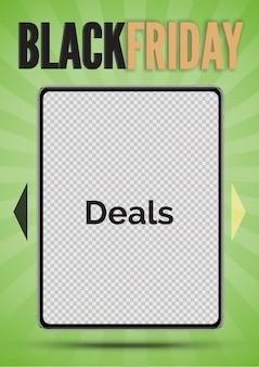 ブラックフライデーセールのバナー。ブラックフライデーの碑文と緑の光線の背景に写真のためのスペースを持つ現実的なベクトルタブレット。プロモーションと広告のためのソーシャルメディアストーリーテンプレート