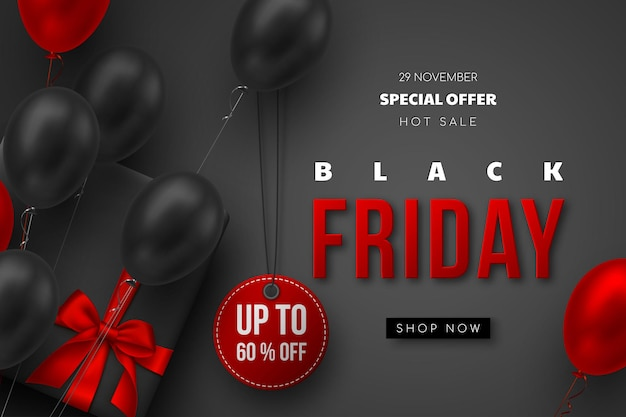 Черная пятница продажа баннер. красные и черные реалистичные глянцевые шары, подарочная коробка, скидочная бирка и красный 3d-текст. черный фон. векторная иллюстрация.