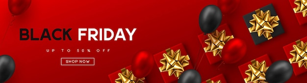 블랙 프라이데이 판매 배너입니다. 빨간색과 검은색 현실적인 광택 풍선, 선물 상자, 할인 텍스트. 빨간색 배경입니다. 벡터 일러스트 레이 션.