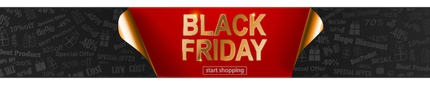 Black friday sale banner in red, black and golden colors. inscription on dark background. curled paper corners. vector illustration for posters, flyers, cards