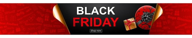 Black friday sale banner in red, black and golden colors. inscription and gift box on dark background. curled paper corners. vector illustration for posters, flyers, cards