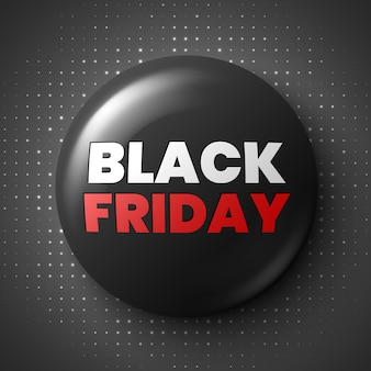 Black friday sale banner. round glossy button. badge.