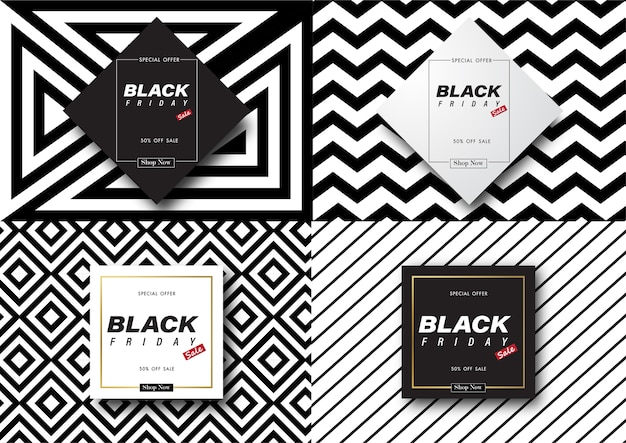 Black friday sale banner set with black and white abstract background.
