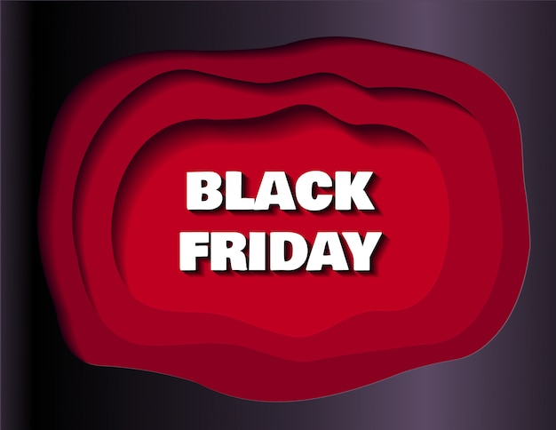 Black friday sale banner for shops and social media in paper cut style