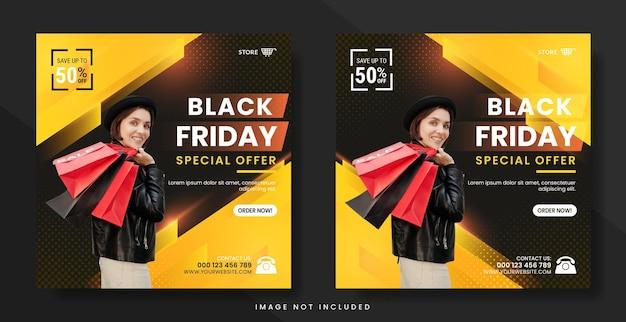 Black friday sale banner for social media post or flyer template
