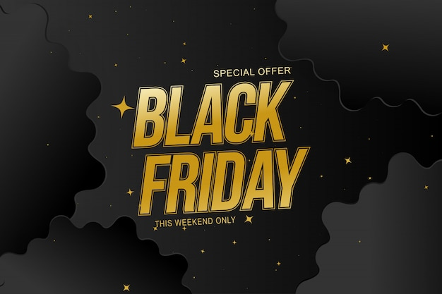 Black friday sale banner special offer  with gold sign