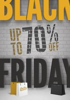 검은 금요일 판매 배너 템플릿입니다. 마케팅을 위한 소셜 미디어 스토리, 카드, 전단지 디자인 벡터 일러스트레이션을 위한 검정 및 주황색 스타일
