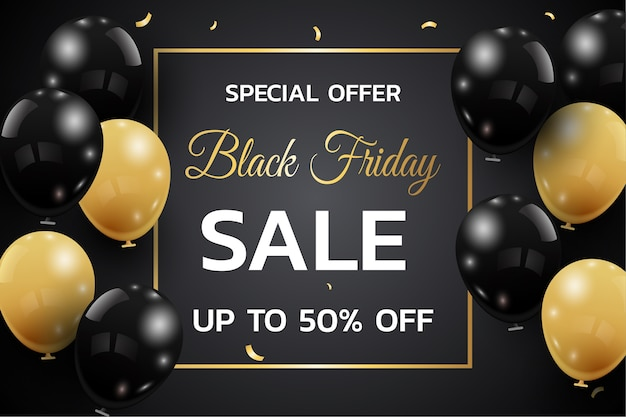 Black friday sale banner template. dark background with gold and black balloons for seasonal discount offer.