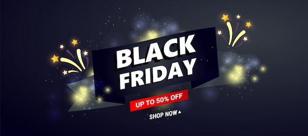 Black friday sale banner template. dark  with black ribbon and sale text, fireworks, stars decor for seasonal discount offers.