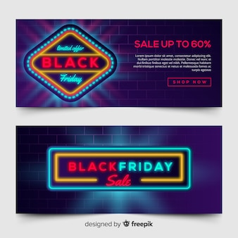 Black friday sale banner template in neon style