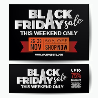 Black friday sale banner template paper cut style