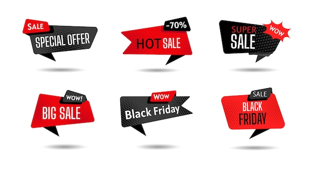 Black friday sale banner template set. retro design element dialog cloud, halftone dot background. advertising sign banner of sale, promotion.