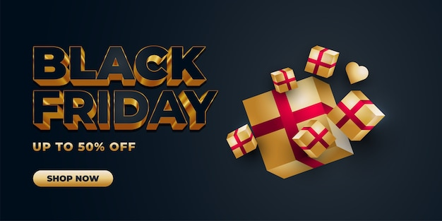 Black friday sale banner template with 3d text and gold gift box on dark background