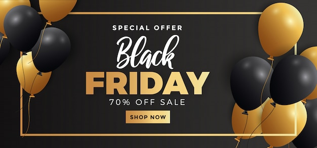 Black friday sale banner template with flying realistic balloons