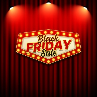 Black friday sale banner template with retro sign style